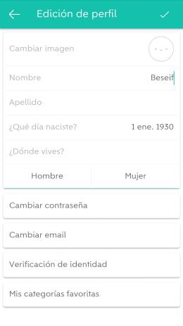 Editar perfil Wallapop