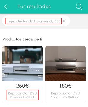 buscar usuario Wallapop producto